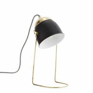 contemporary desk lamp with black shade and brass stand
