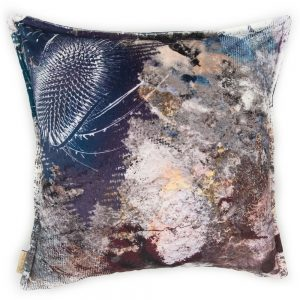contemporary cushion with unusual bronze thistle designby  Mairi Helena