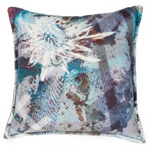 contemporary cushion with unusual emerald thistle design Mairi Helena