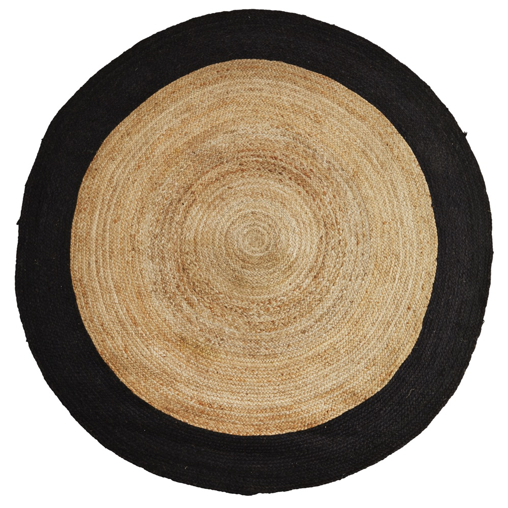 round rattan weave rug - black - curiousegg