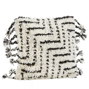 tribal cushion tufted fluffy surface and tassels