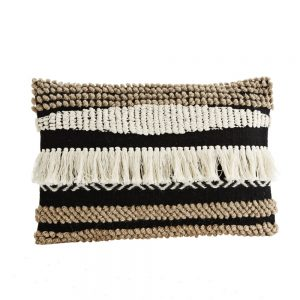 tribal cushion with knotted and fringed surface in black