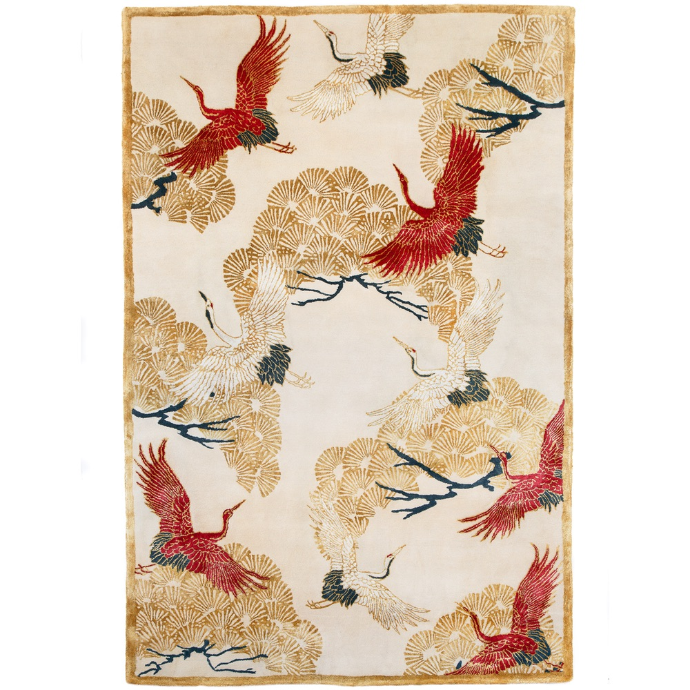 Cranes In Trees Hand Tufted Rug