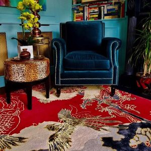 Good Fortune red wool rug with oriental design by Wendy Morrison