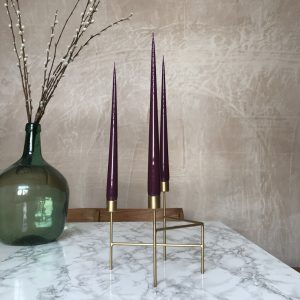 Three hand dipped taper candles in laquered Aubergine colour