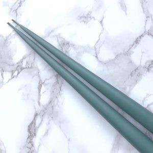 Pair of hand dipped taper candles in Jade colour. Curious Egg.