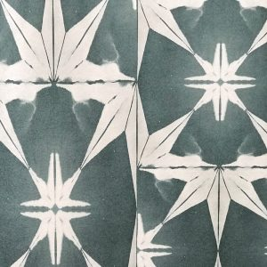 Wanderlust Wallpaper in Teal by Anna Hayman at Curious Egg. Cutout Image showing wallpaper design.