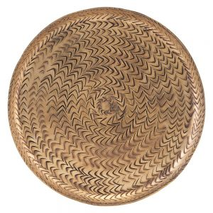 Brown brass tray with woven texture